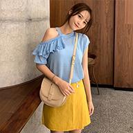 实拍 已检测 夏季新款丝光棉正反两穿露肩短袖T恤女荷叶边针织衫