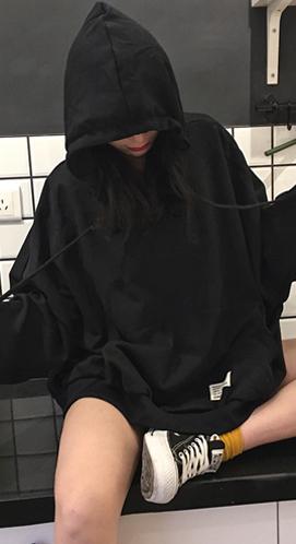 590#女装新款韩版原宿风个性贴标宽松连帽长袖卫衣情侣款外套学生