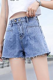 实拍牛仔短裤女2019夏季新款高腰显瘦宽松阔腿泫雅同款a字热裤 潮