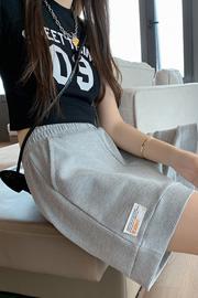实拍3005#(华夫格)短裤高腰女夏宽松休闲显瘦松紧腰阔腿运动裤