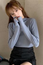 实拍特价 x1800#   秋冬新款半高圆领长袖针织衫上衣女打底衫毛衣