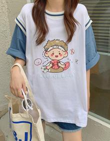 2271#【实拍 6535棉】原宿短袖女假两件t恤上衣韩版宽松学生半袖