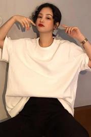 【无后包】26支纯棉男女通用中长款光白版纯色短袖T恤女新款宽松