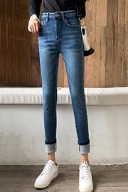 高腰加绒加厚牛仔裤女2019新款韩版显瘦复古蓝紧身带绒小脚裤子女