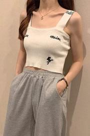 058#【实拍模特】新款韩版纯色英文刺绣内搭小吊带女