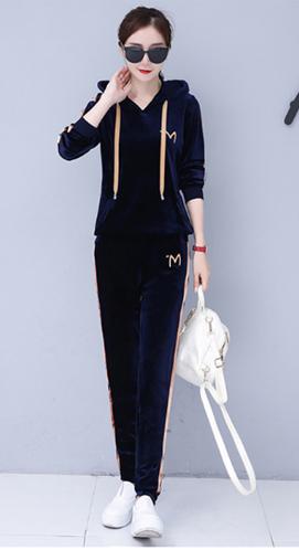 T038#实拍《带视频》运动套装女新款韩版卫衣套装大码休闲两件套