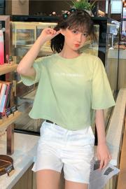 实拍有小视频【100%纯棉】夏季字母短款T恤女网红ins短袖上衣半袖