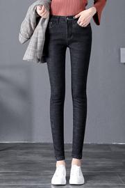 高腰加厚牛仔裤女秋冬季2019新款黑色修身休闲小脚韩版加绒牛仔裤