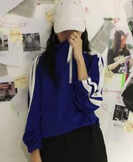 原宿风松竖条拉链套头宽松长袖卫衣女显瘦韩版休闲运动上衣