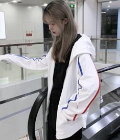 含棉新款春秋薄款宽松韩版运动拉链外套上衣连帽白色卫衣女ins潮