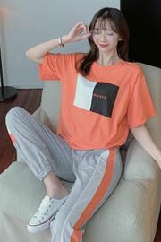 夏季新款韩版时尚短袖t恤+长裤运动服套装女两件套【6535拉架棉】