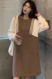 (190克鱼鳞)设计感休闲宽松撞色拼接假两件卫衣式连衣裙网红短裙