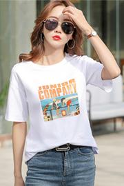 1901#实拍(1.25出货)纯棉卡通图案圆领短袖T恤女(95棉 5氨纶)