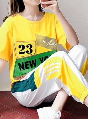 实拍6535棉休闲套装女潮牌韩版时尚宽松嘻哈夏季纯棉短袖两件套