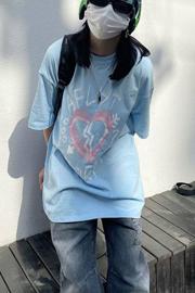 【6535棉】夏季宽松短袖女潮流印花学生圆领长款原宿BF风T恤上衣女