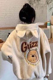 可爱小熊耳朵羊羔毛绒卫衣女潮秋冬宽松韩版学生加绒加厚绣花外套