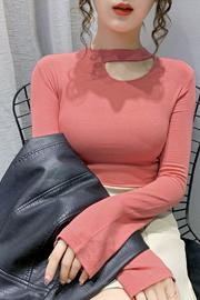 秋装2020年新款洋气性感镂空挂脖上衣修身打底衫长袖t恤(螺纹)