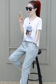 夏天运动套装女2019夏季新款时尚宽松短袖七分裤休闲九分两件套潮