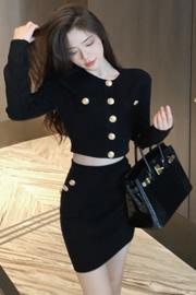 林珊珊夏季气质针织上衣半身裙套装女chic韩版短外套裙子两件套