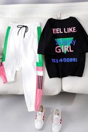 好质量 休闲运动风套装女夏季潮牌时尚洋气大码宽松两件套网红ins