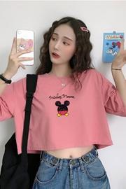 01-A72#【实拍 6535拉架棉】韩版卡通印花甜美学院风短袖T恤
