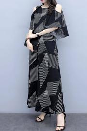 620#时尚套装女2019新款夏季韩版宽松显瘦露肩上衣阔腿裤两件套