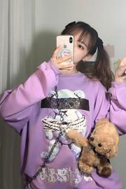 KK35#原创实拍 控价30日系原宿风少女蕾丝白熊宽松长袖卫衣男女潮