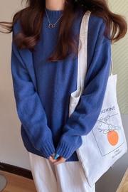 实拍 x9103# 秋冬新款宽松慵懒风长袖针织衫上衣女圆领打底衫毛衣