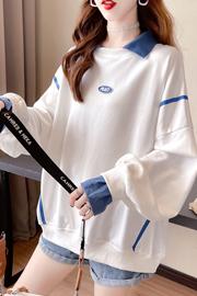 实拍2855#310克仿棉加绒韩版不起球假两件外套长袖立领冬季卫衣