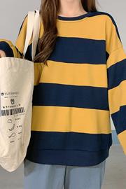 464#实拍【加绒250克-100%聚酯纤维】四色加绒加厚条纹卫衣女