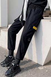 实拍9603工装裤女显瘦高腰黑色裤子宽松bf直筒运动束脚百搭休闲裤