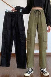 实拍564#(加厚面料)魔术贴工装裤女直筒宽松高腰显瘦帅气休闲裤