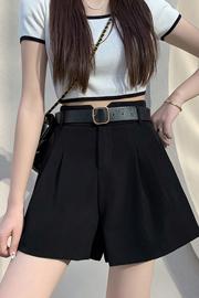实拍9862#咖色短裤女夏季外穿宽松显瘦高腰西装垂感五分A字阔腿裤