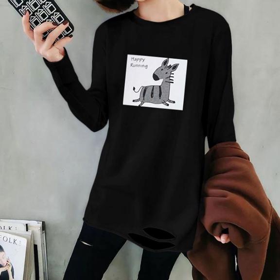 【官图】3014#180双磨牛奶丝 t恤女韩版长袖宽松下摆破洞打底衫
