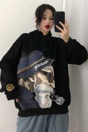 卫衣女2019秋季韩版BF风卡通印花加绒加厚宽松连帽上衣外套潮
