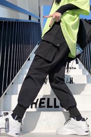 实拍9609工装裤女显瘦高腰黑色裤子宽松bf直筒运动束脚百搭休闲裤