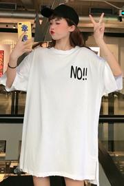 7741#(6535棉)INS火学院风中长款切破短袖T恤女【实拍】