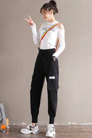 8829【全涤】束脚工装裤女宽松bf国潮裤子女高腰哈伦显瘦运动休闲裤
