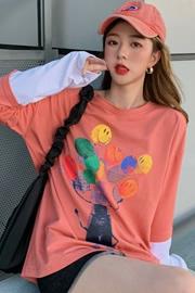 035#【原创实拍 6535小卫衣】设计感假两件秋冬新款T恤女宽松中长