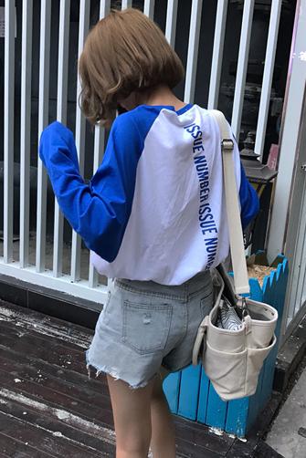 628#女装韩版宽松百搭字母后背印花撞色长袖套头T恤显瘦上衣学生