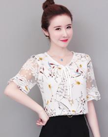 实拍遮肚子显瘦雪纺衫女短袖夏2020新款韩版洋气小衫飘逸超仙上衣