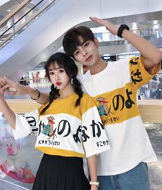 1088#【实拍 纯棉 不掉色】2020夏季情侣装学生班服男女短袖T恤衫