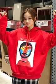 【实拍】250克加绒 2018秋装韩版新款抽象画人物连帽宽松显瘦卫衣