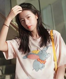 官方图6535布夏季ulzzang小飞象中长款T恤女韩版宽松印花短袖