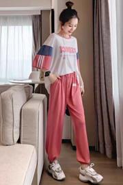 网红时尚洋气休闲运动套装女夏季短袖学生韩版宽松显瘦跑步两件套