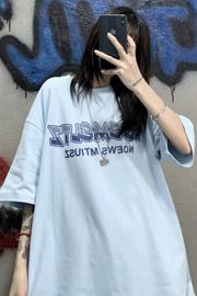 【6535棉】韩国ins夏季高街港风蓝色字母印花宽松情侣短袖T恤男女