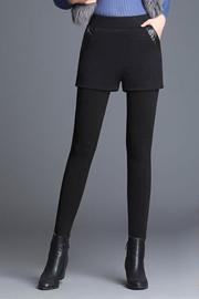 冬季假两件短裤打底裤女外穿加绒加厚保暖高腰弹力大码显瘦小脚