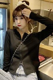 246#实拍2020秋季心机双头拉链短款开衫外套女韩版长袖修身上衣女