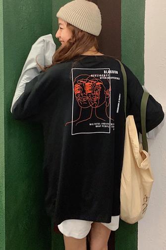 1376#【实拍图】6535棉 假两件长袖拼接t恤女
