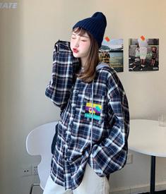 577#【实拍】日系港风连帽格子衬衫春装薄款外套学生情侣长袖衬衣